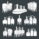 集合-啤酒啤酒厂元素,象,商标 向量 向量例证