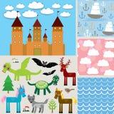 集合3无缝的背景 城堡,美妙的动物 向量 免版税库存图片