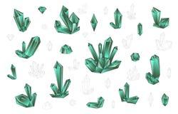 集合18时尚明亮地上色了金刚石行家样式 时髦的水晶 免版税库存照片