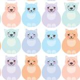 集合滑稽的猫,在白色背景的淡色 库存照片
