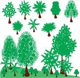 集合绿色树和剪贴美术 免版税库存照片