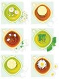 集合 花茶和柠檬茶 免版税库存图片