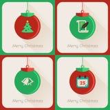 集合III贺卡圣诞节球 免版税图库摄影
