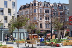 集市广场在卡托维兹,波兰 库存照片