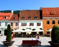 集市广场在布拉索夫(Kronstadt),在Transilvania 免版税库存图片