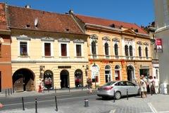 集市广场在布拉索夫(Kronstadt), Transilvania,罗马尼亚 库存照片