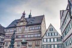集市广场在蒂宾根,德国 免版税库存照片