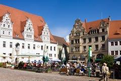 集市广场在迈森,德国 免版税库存图片