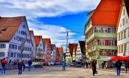 集市广场在Biberach der Ris德国 免版税库存图片