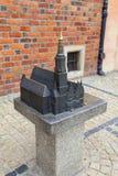 集市广场的哥特式弗罗茨瓦夫老城镇厅,微型为窗帘,弗罗茨瓦夫,波兰 库存照片