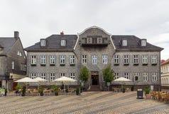 集市广场的议院在戈斯拉尔,德国 免版税图库摄影