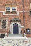 集市广场的,对博物馆,弗罗茨瓦夫,波兰的门哥特式弗罗茨瓦夫老城镇厅 库存照片