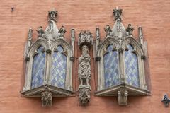集市广场的,弗罗茨瓦夫,波兰哥特式弗罗茨瓦夫城镇厅 库存照片