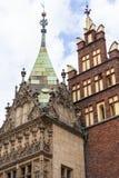 集市广场的,弗罗茨瓦夫,波兰哥特式弗罗茨瓦夫城镇厅 免版税图库摄影
