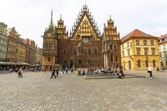 集市广场的,弗罗茨瓦夫,波兰哥特式弗罗茨瓦夫城镇厅 库存图片