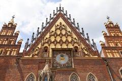 集市广场的,弗罗茨瓦夫,波兰哥特式弗罗茨瓦夫老城镇厅 免版税库存照片