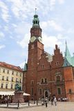 集市广场的,弗罗茨瓦夫,波兰哥特式弗罗茨瓦夫老城镇厅 图库摄影