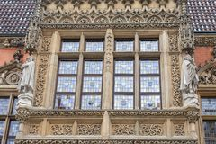 集市广场的,装饰窗口,弗罗茨瓦夫,波兰哥特式弗罗茨瓦夫老城镇厅 免版税库存照片
