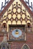 集市广场的,门面,弗罗茨瓦夫,波兰哥特式弗罗茨瓦夫老城镇厅 库存照片