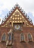集市广场的,门面,弗罗茨瓦夫,波兰哥特式弗罗茨瓦夫老城镇厅 免版税库存照片
