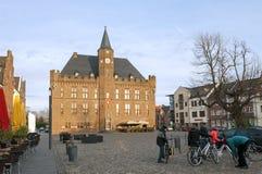 集市广场的, Kalkar,德国市政厅 免版税库存照片