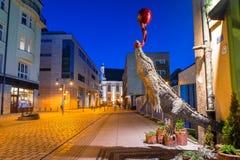 集市广场的建筑学在黄昏的弗罗茨瓦夫,波兰 图库摄影