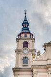 集市广场的Ludwigsburg的,德国教会 库存图片