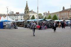 集市广场,曼斯菲尔德,诺丁汉郡 免版税库存图片