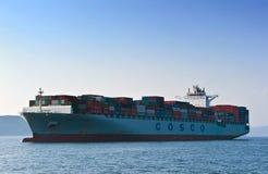 集装箱船在公海的中远集团菲律宾 东部(日本)海 海洋太平洋 01 08 2014年 库存照片