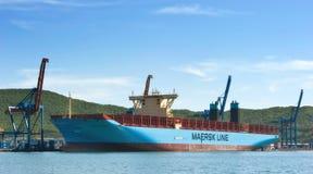 集装箱船码头终端的Marstal马士基 不冻港海湾 东部(日本)海 30 05 2014年 免版税库存图片