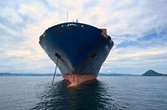 集装箱船CMA站立在路的CGM细索在船锚 不冻港海湾 东部(日本)海 02 08 2015年 库存照片