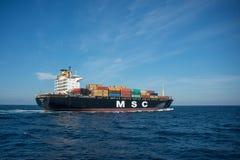 集装箱船MSC米雷拉 免版税库存图片