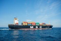 集装箱船MSC米雷拉 免版税图库摄影
