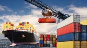 集装箱运输乘船 库存图片