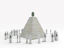 雇员下piramid剪影 免版税库存照片