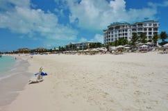 雍容海湾海滩在Providenciales,土耳其人和凯科斯 库存图片
