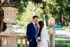 雍美好的微笑的新娘和新郎拥抱在公园 新娘拥抱新郎 在爱的夫妇婚礼之日 库存照片
