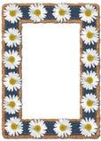 雏菊和牛仔布照片框架 免版税库存照片
