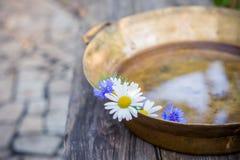 雏菊和矢车菊在水一个铜水池在木表面的背景 免版税图库摄影