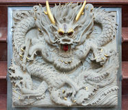 雕刻中国龙石头 免版税图库摄影