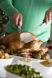雕刻圣诞节烘烤火鸡 免版税库存照片