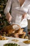 雕刻圣诞节烘烤火鸡 图库摄影