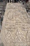 雕刻在大理石的装饰品从祷告的霍尔台阶用好收获的从天坛在北京 免版税库存照片