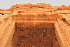 雕刻在天花板在扇叶树头榈古城 免版税库存图片