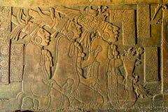 雕刻在帕伦克的浅浮雕破坏恰帕斯州墨西哥 免版税库存照片