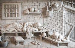 雕刻墙壁的长寿大理石的Shou西虢国中国神, 免版税库存图片