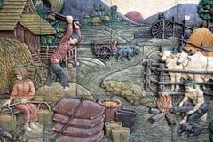 雕刻泰国石的样式 库存照片