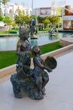 雕刻的构成在普遍的购物和娱乐复杂伦敦苏豪区广场, Sharm El谢赫,埃及 库存照片