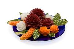 雕刻蔬菜的排列 免版税库存照片