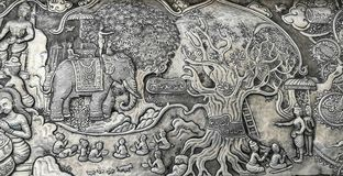 雕刻银 银色样式雕刻在墙壁临时雇员的设计 免版税库存照片